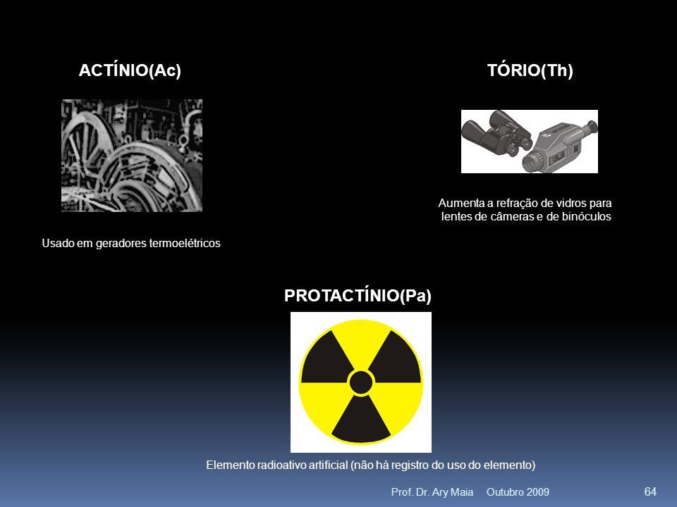 ACTÍNIO(Ac) Usado em geradores termoelétricos TÓRIO(Th) Aumenta a refração de vidros para lentes de câmeras e de binóculos PROTACTÍNIO(Pa) Elemento radioativo artificial (não há registro do uso do elemento) Outubro 2009 64 Prof.