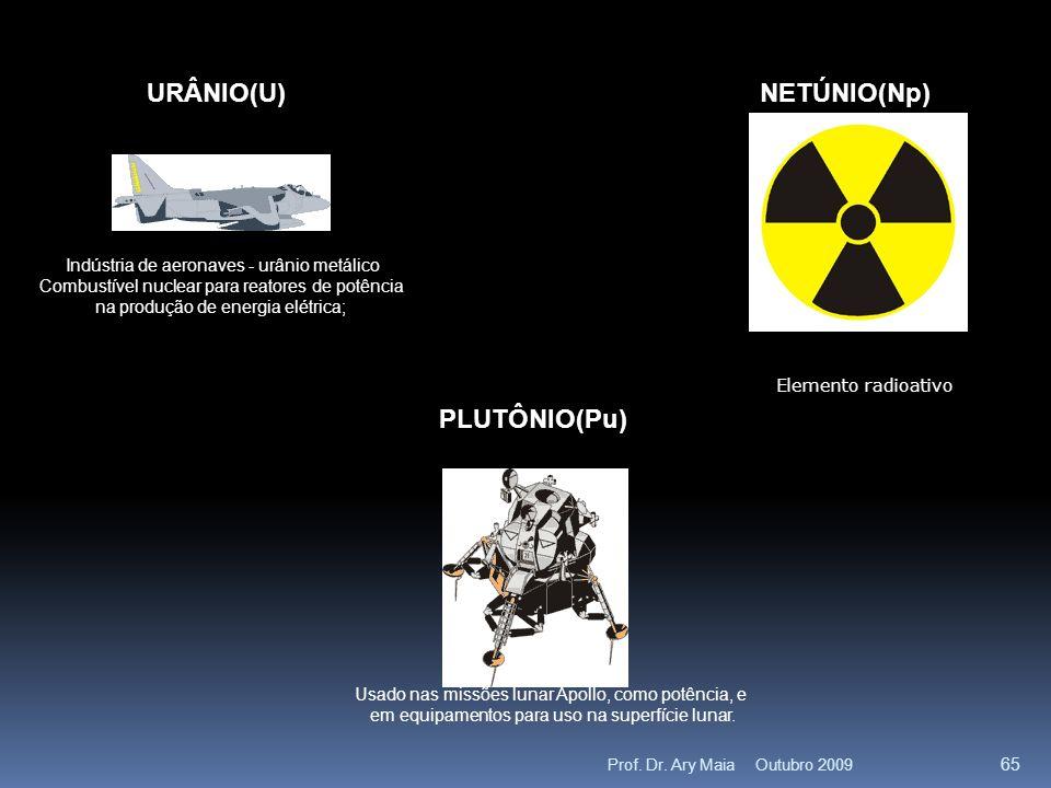 URÂNIO(U) Indústria de aeronaves - urânio metálico Combustível nuclear para reatores de potência na produção de energia elétrica; NETÚNIO(Np) Elemento radioativo PLUTÔNIO(Pu) Usado nas missões lunar Apollo, como potência, e em equipamentos para uso na superfície lunar.