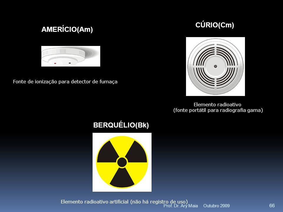 AMERÍCIO(Am) Fonte de ionização para detector de fumaça CÚRIO(Cm) Elemento radioativo (fonte portátil para radiografia gama) BERQUÉLIO(Bk) Elemento radioativo artificial (não há registro de uso) Outubro 2009 66 Prof.