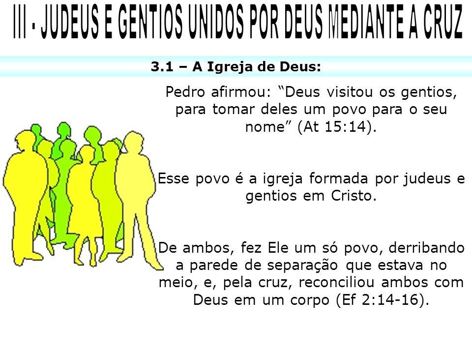 3.1 – A Igreja de Deus: Pedro afirmou: Deus visitou os gentios, para tomar deles um povo para o seu nome (At 15:14). Esse povo é a igreja formada por