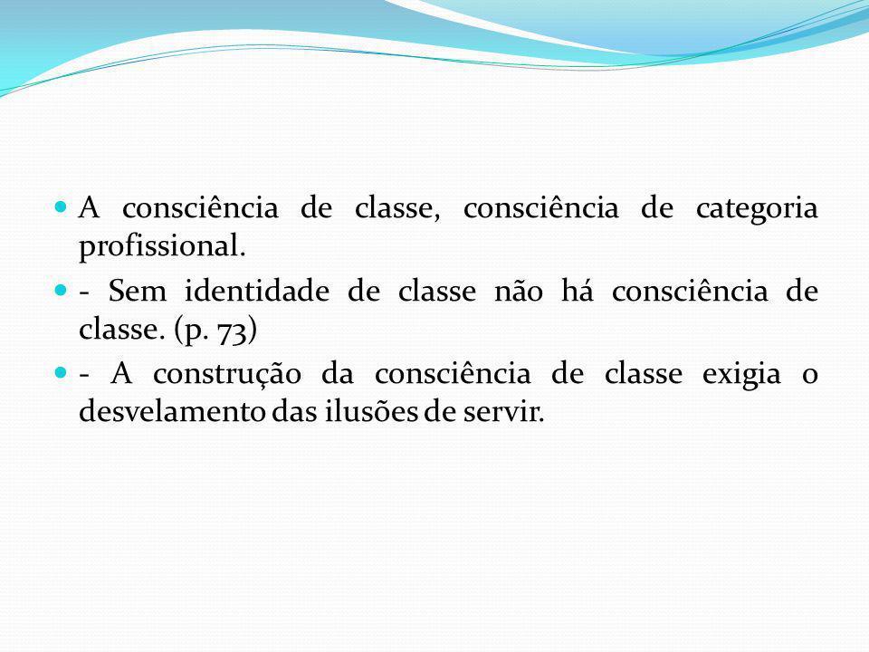 A consciência de classe, consciência de categoria profissional. - Sem identidade de classe não há consciência de classe. (p. 73) - A construção da con