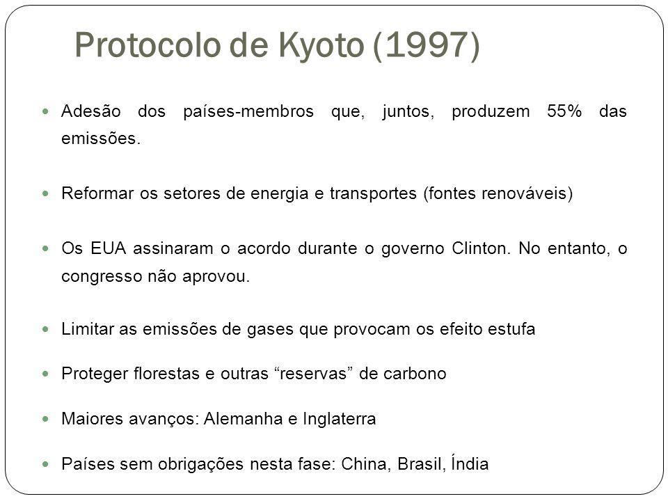 Protocolo de Kyoto (1997) Adesão dos países-membros que, juntos, produzem 55% das emissões. Reformar os setores de energia e transportes (fontes renov