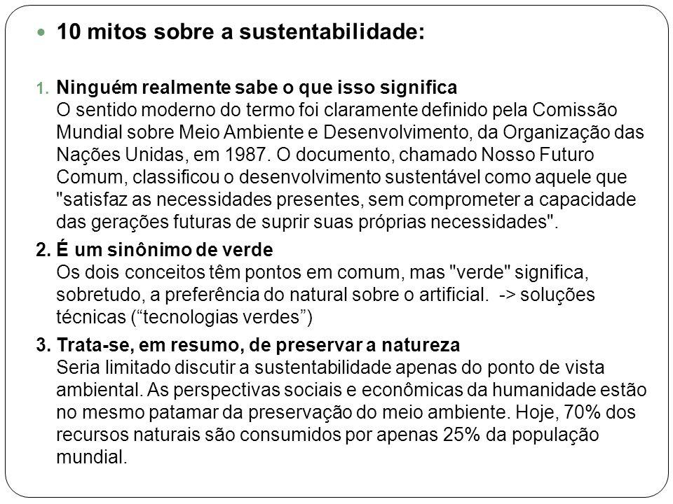 10 mitos sobre a sustentabilidade: 1. Ninguém realmente sabe o que isso significa O sentido moderno do termo foi claramente definido pela Comissão Mun