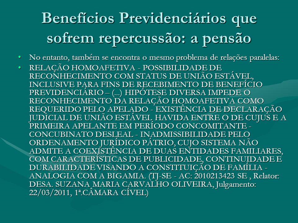 Benefícios Previdenciários que sofrem repercussão: a pensão No entanto, também se encontra o mesmo problema de relações paralelas:No entanto, também s