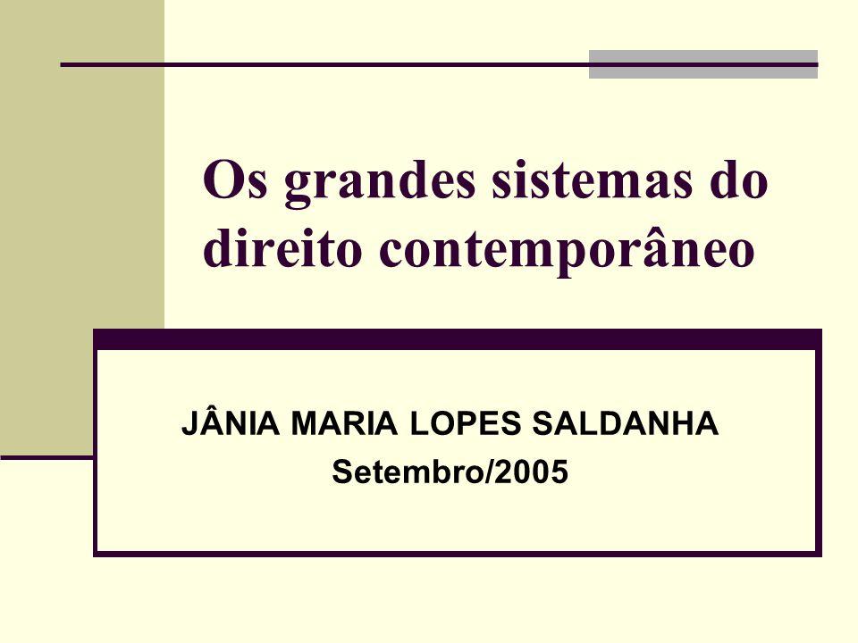 Os grandes sistemas do direito contemporâneo JÂNIA MARIA LOPES SALDANHA Setembro/2005