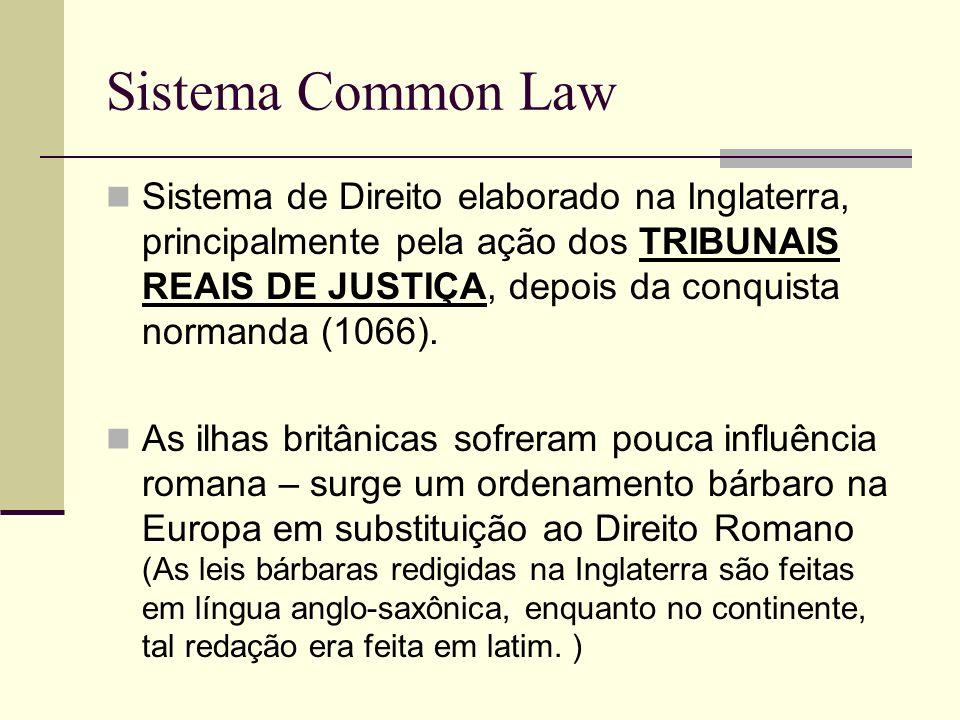 Sistema Common Law Sistema de Direito elaborado na Inglaterra, principalmente pela ação dos TRIBUNAIS REAIS DE JUSTIÇA, depois da conquista normanda (