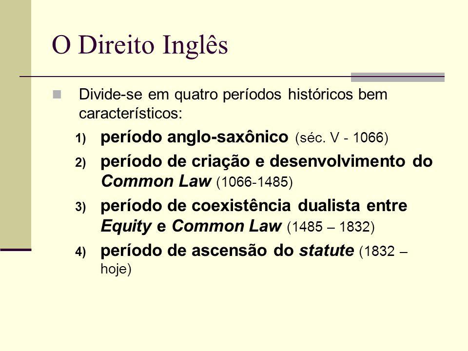 O Direito Inglês Divide-se em quatro períodos históricos bem característicos: 1) período anglo-saxônico (séc. V - 1066) 2) período de criação e desenv