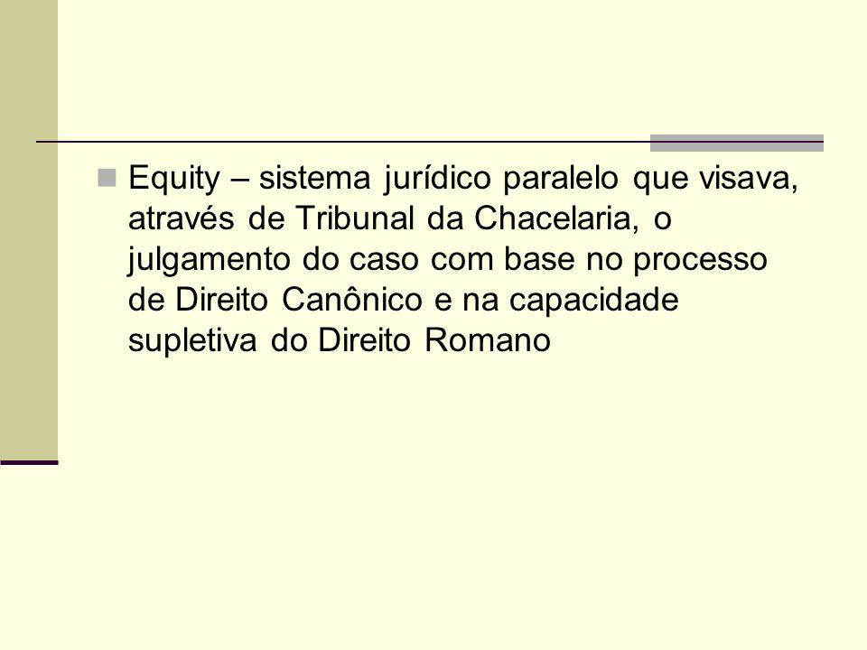 Equity – sistema jurídico paralelo que visava, através de Tribunal da Chacelaria, o julgamento do caso com base no processo de Direito Canônico e na c