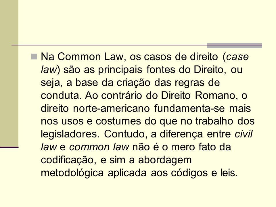 Na Common Law, os casos de direito (case law) são as principais fontes do Direito, ou seja, a base da criação das regras de conduta. Ao contrário do D