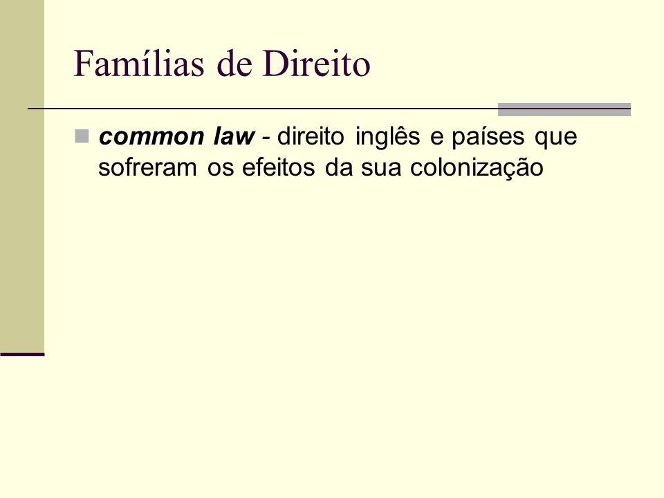 Famílias de Direito common law common law - direito inglês e países que sofreram os efeitos da sua colonização