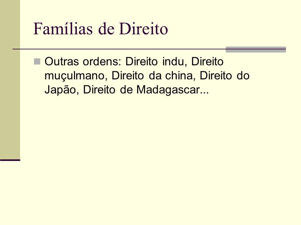 Famílias de Direito Outras ordens: Direito indu, Direito muçulmano, Direito da china, Direito do Japão, Direito de Madagascar...