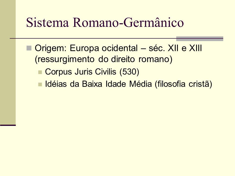 Sistema Romano-Germânico Vigente em todos os países da Europa Ocidental (exceção: Reino Unido) e da América Latina, aplicado na República da África do Sul, Japão, Indonésia Predominância do direito positivado (lei) Tendência a codificação do direito