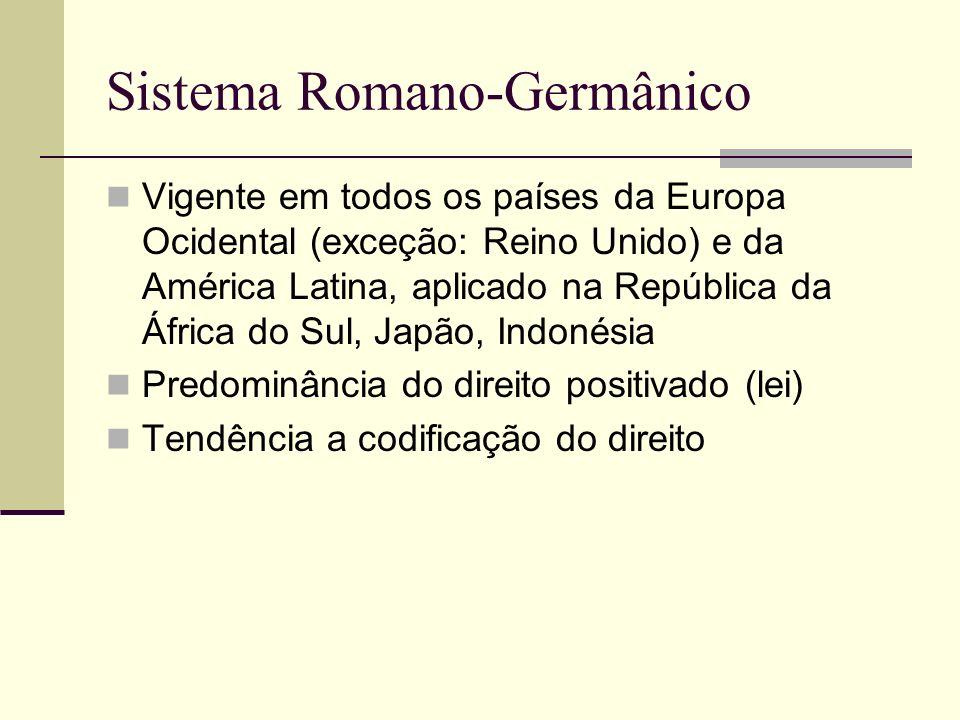 Sistema Romano-Germânico Vigente em todos os países da Europa Ocidental (exceção: Reino Unido) e da América Latina, aplicado na República da África do