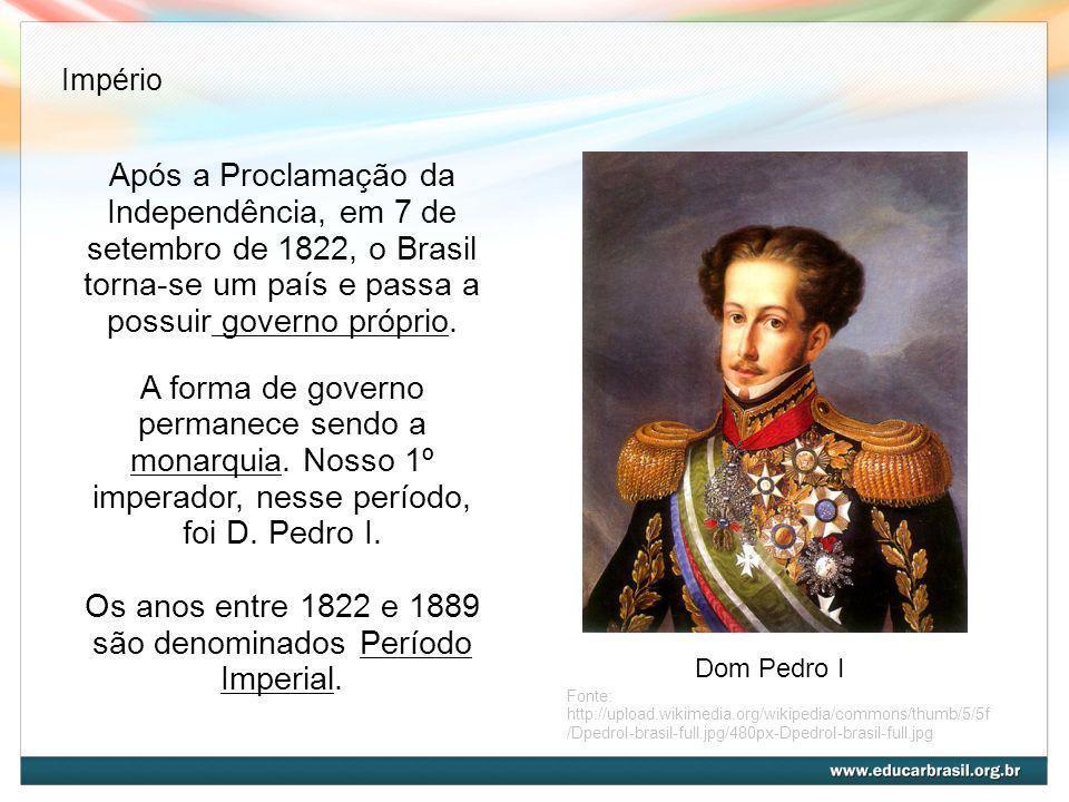 Após a Proclamação da Independência, em 7 de setembro de 1822, o Brasil torna-se um país e passa a possuir governo próprio. A forma de governo permane
