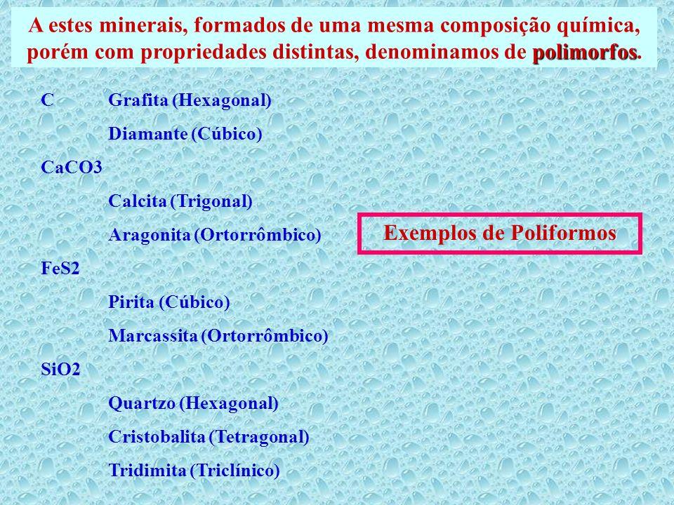 polimorfos A estes minerais, formados de uma mesma composição química, porém com propriedades distintas, denominamos de polimorfos. C Grafita (Hexagon