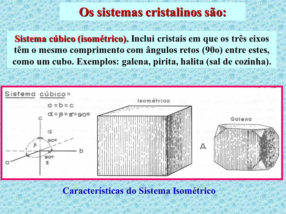 Os sistemas cristalinos são: Sistema cúbico (isométrico). Sistema cúbico (isométrico). Inclui cristais em que os três eixos têm o mesmo comprimento co