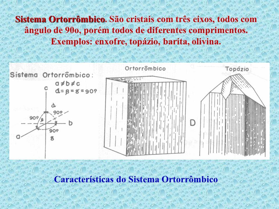 Sistema Ortorrômbico Sistema Ortorrômbico. São cristais com três eixos, todos com ângulo de 90o, porém todos de diferentes comprimentos. Exemplos: enx