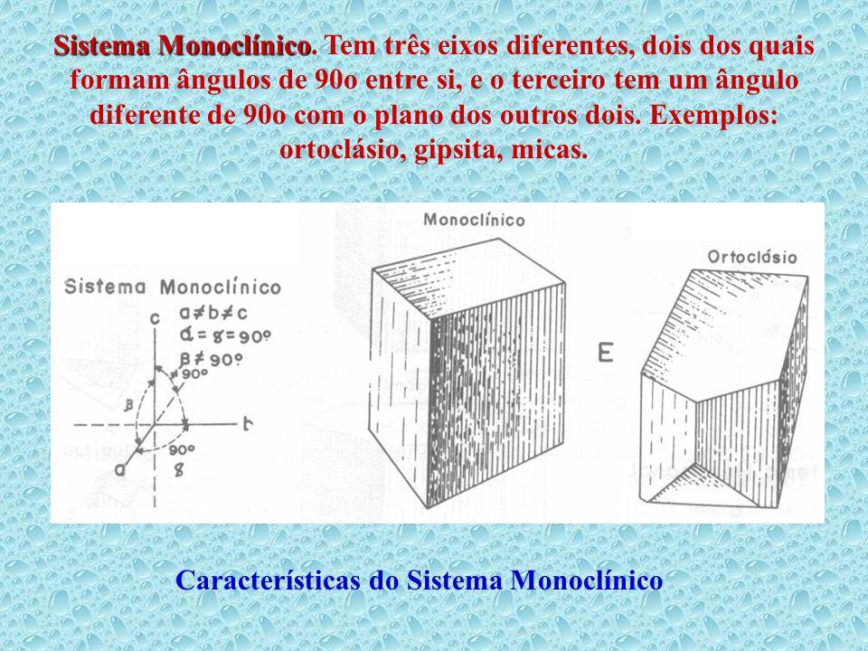 Sistema Monoclínico Sistema Monoclínico. Tem três eixos diferentes, dois dos quais formam ângulos de 90o entre si, e o terceiro tem um ângulo diferent