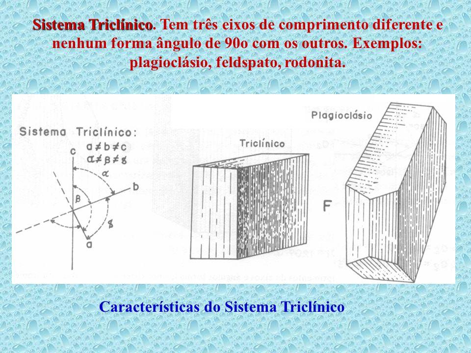 Sistema Triclínico Sistema Triclínico. Tem três eixos de comprimento diferente e nenhum forma ângulo de 90o com os outros. Exemplos: plagioclásio, fel