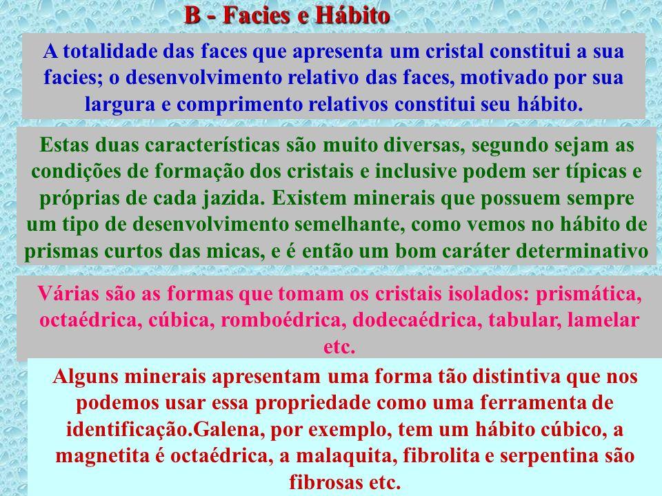 B - Facies e Hábito Cristalino A totalidade das faces que apresenta um cristal constitui a sua facies; o desenvolvimento relativo das faces, motivado