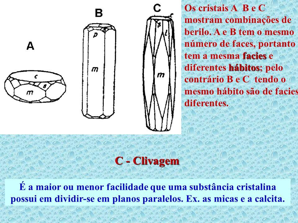 facies hábitos Os cristais A B e C mostram combinações de berilo. A e B tem o mesmo número de faces, portanto tem a mesma facies e diferentes hábitos;