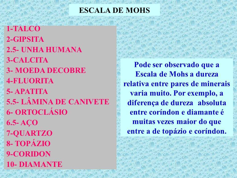 ESCALA DE MOHS 1-TALCO 2-GIPSITA 2.5- UNHA HUMANA 3-CALCITA 3- MOEDA DECOBRE 4-FLUORITA 5- APATITA 5.5- LÂMINA DE CANIVETE 6- ORTOCLÁSIO 6.5- AÇO 7-QU