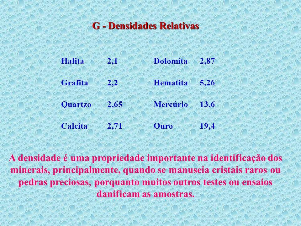 Halita2,1Dolomita2,87 Grafita2,2Hematita5,26 Quartzo2,65Mercúrio13,6 Calcita2,71Ouro19,4 G - Densidades Relativas A densidade é uma propriedade import