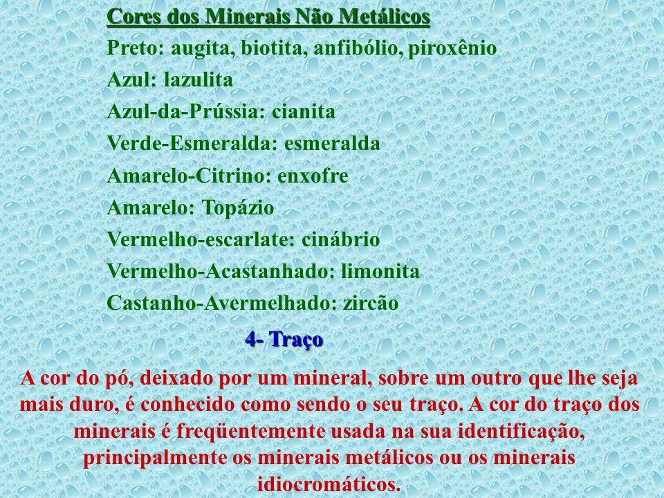 Cores dos Minerais Não Metálicos Preto: augita, biotita, anfibólio, piroxênio Azul: lazulita Azul-da-Prússia: cianita Verde-Esmeralda: esmeralda Amare