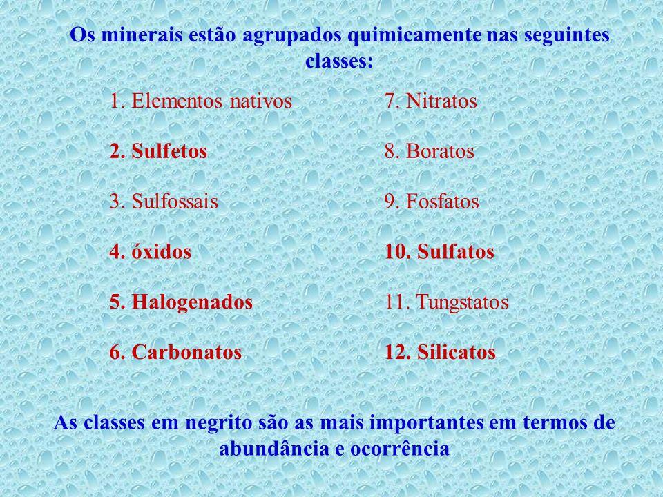 1. Elementos nativos7. Nitratos 2. Sulfetos8. Boratos 3. Sulfossais9. Fosfatos 4. óxidos10. Sulfatos 5. Halogenados11. Tungstatos 6. Carbonatos12. Sil