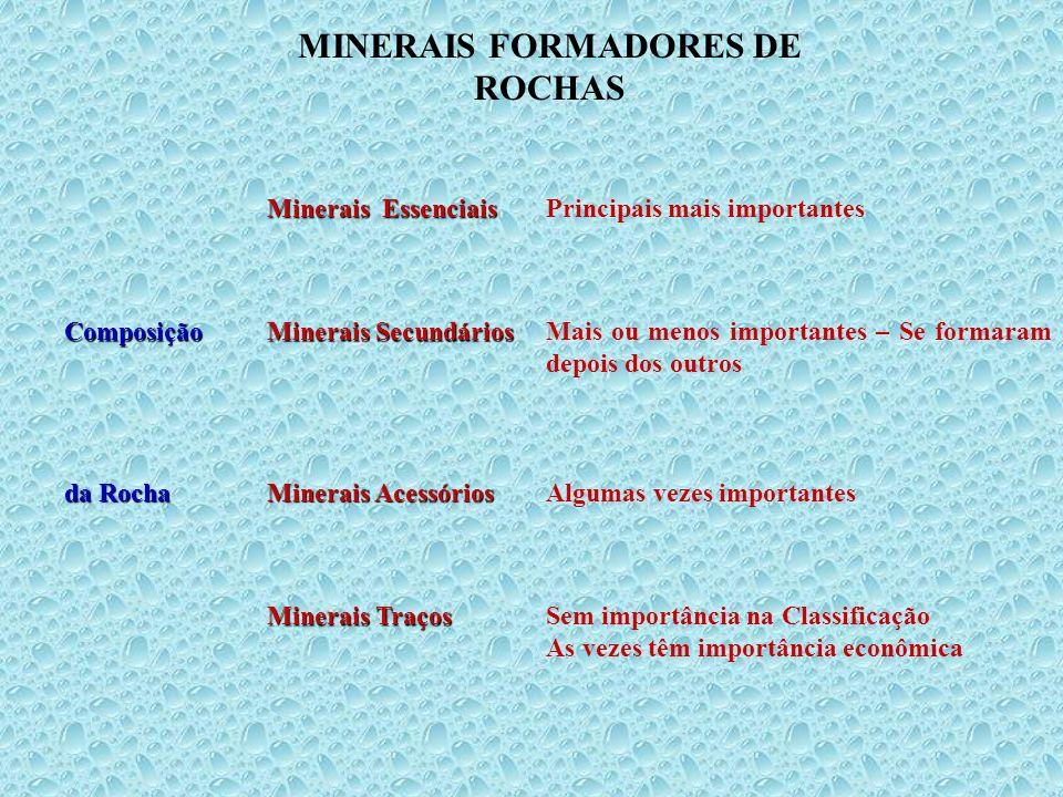 MINERAIS FORMADORES DE ROCHAS Minerais Essenciais Principais mais importantesComposição Minerais Secundários Mais ou menos importantes – Se formaram d