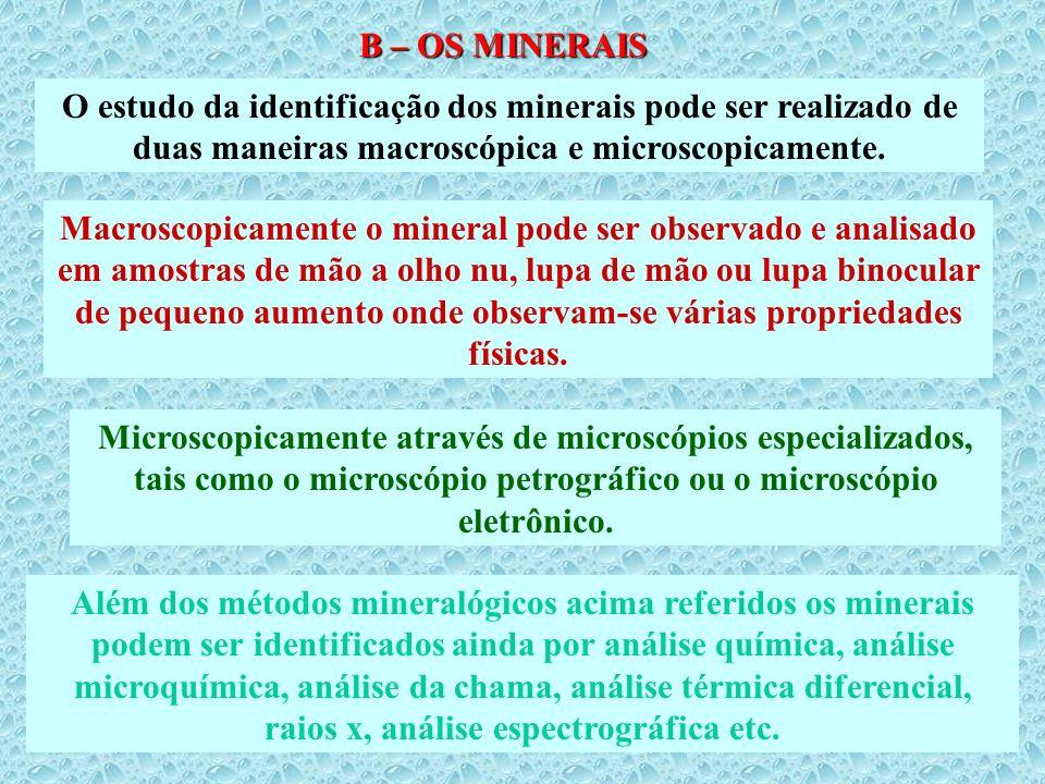 B – OS MINERAIS O estudo da identificação dos minerais pode ser realizado de duas maneiras macroscópica e microscopicamente. Macroscopicamente o miner