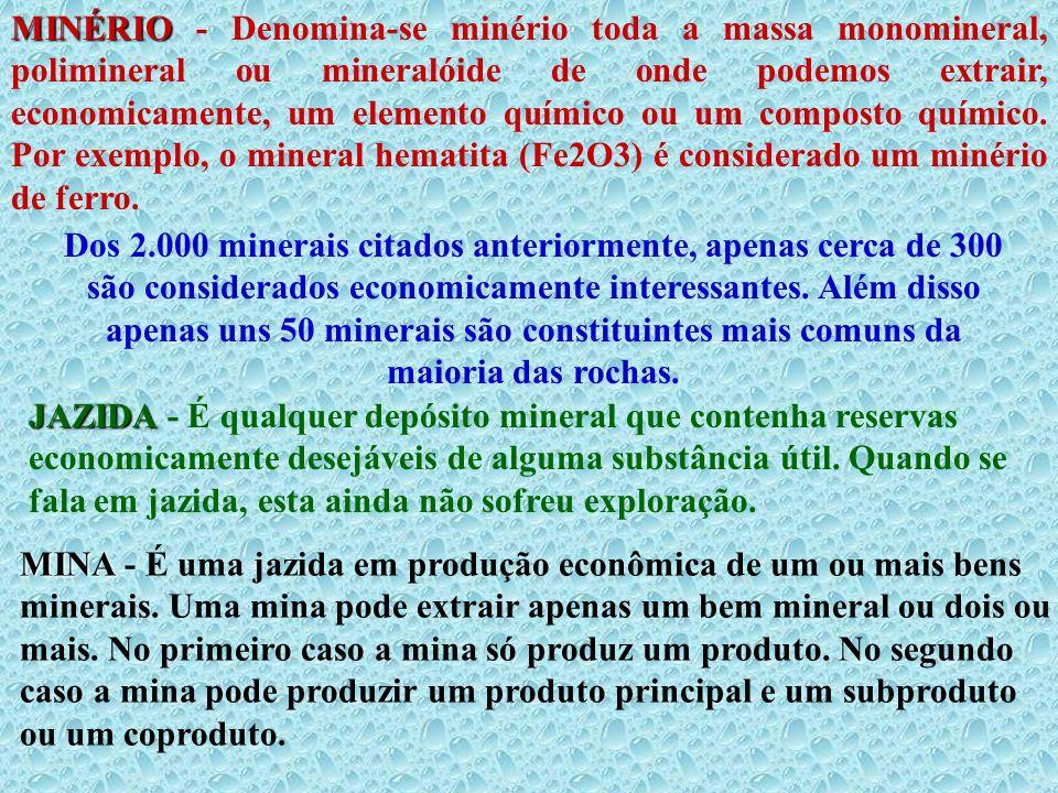 MINÉRIO MINÉRIO - Denomina-se minério toda a massa monomineral, polimineral ou mineralóide de onde podemos extrair, economicamente, um elemento químic