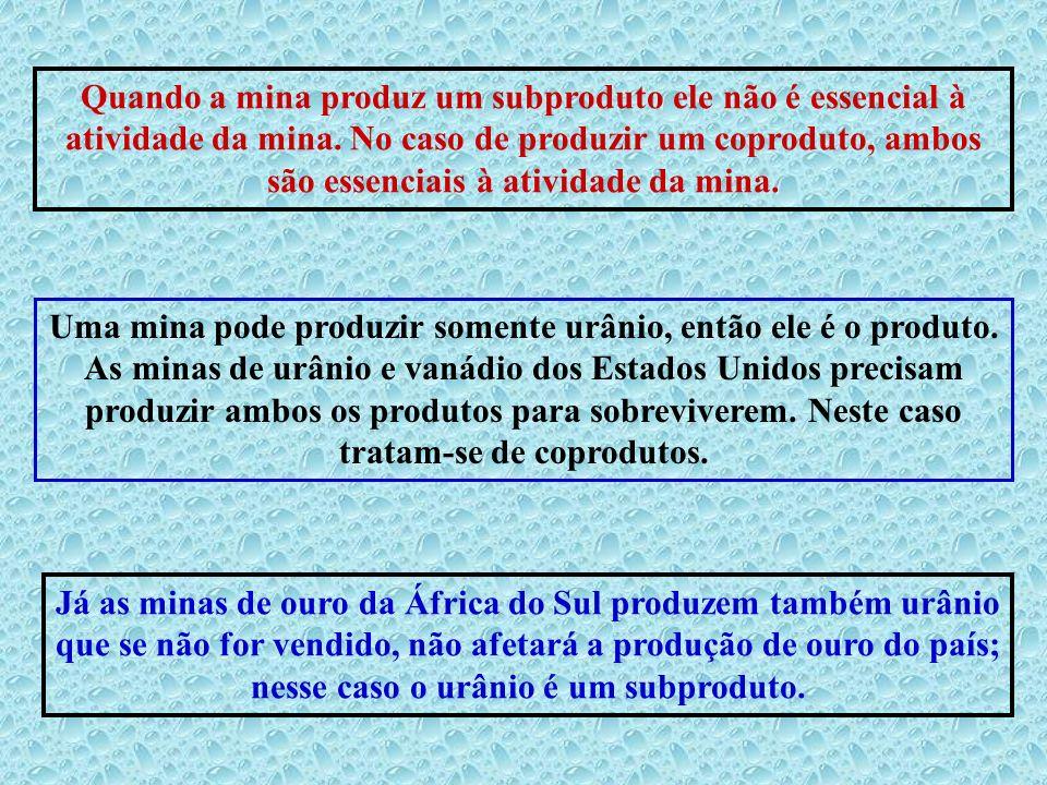 Quando a mina produz um subproduto ele não é essencial à atividade da mina. No caso de produzir um coproduto, ambos são essenciais à atividade da mina