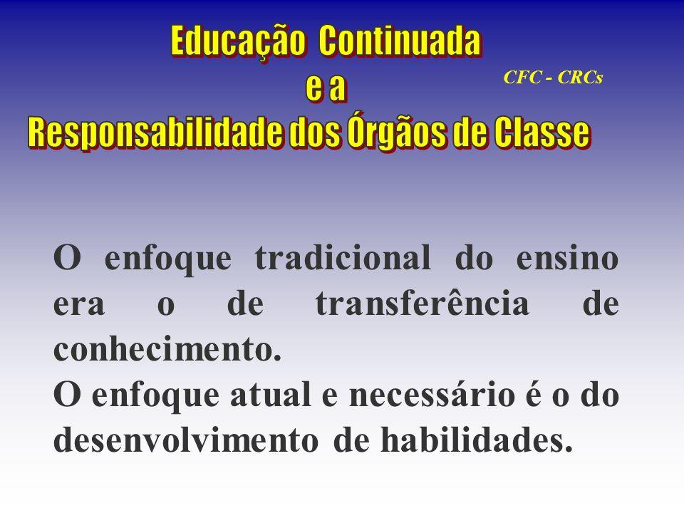 O enfoque tradicional do ensino era o de transferência de conhecimento. O enfoque atual e necessário é o do desenvolvimento de habilidades. CFC - CRCs