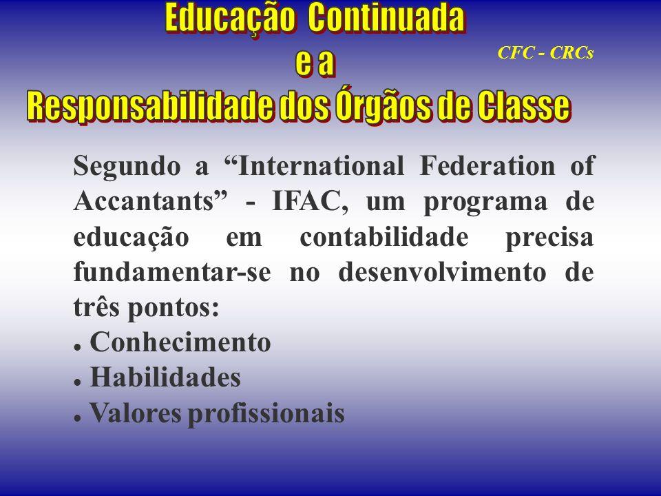 Segundo a International Federation of Accantants - IFAC, um programa de educação em contabilidade precisa fundamentar-se no desenvolvimento de três po