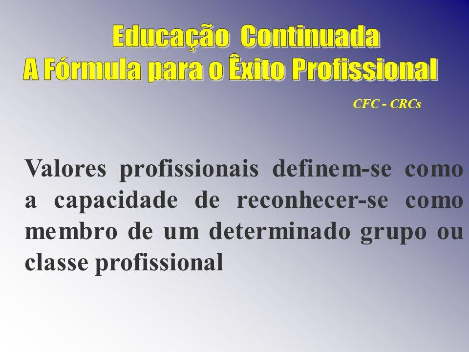 Valores profissionais definem-se como a capacidade de reconhecer-se como membro de um determinado grupo ou classe profissional CFC - CRCs