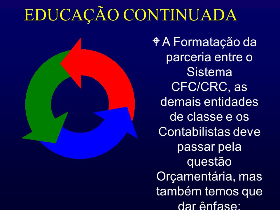 EDUCAÇÃO CONTINUADA WA Formatação da parceria entre o Sistema CFC/CRC, as demais entidades de classe e os Contabilistas deve passar pela questão Orçam