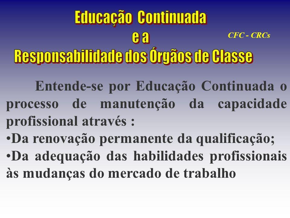 Entende-se por Educação Continuada o processo de manutenção da capacidade profissional através : Da renovação permanente da qualificação; Da adequação