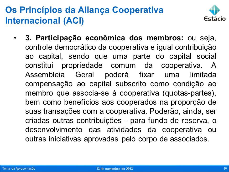 3. Participação econômica dos membros: ou seja, controle democrático da cooperativa e igual contribuição ao capital, sendo que uma parte do capital so