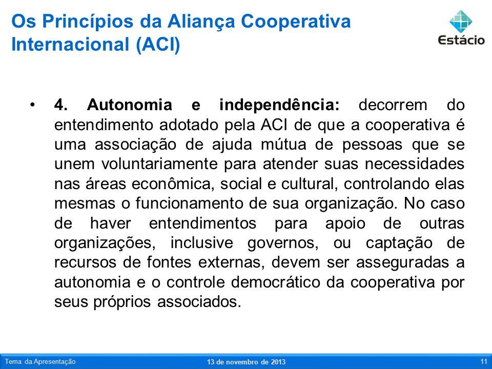4. Autonomia e independência: decorrem do entendimento adotado pela ACI de que a cooperativa é uma associação de ajuda mútua de pessoas que se unem vo