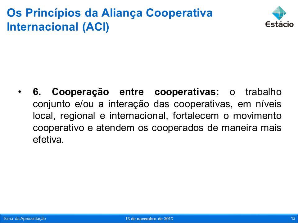 6. Cooperação entre cooperativas: o trabalho conjunto e/ou a interação das cooperativas, em níveis local, regional e internacional, fortalecem o movim