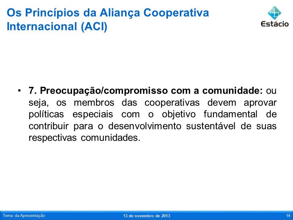7. Preocupação/compromisso com a comunidade: ou seja, os membros das cooperativas devem aprovar políticas especiais com o objetivo fundamental de cont