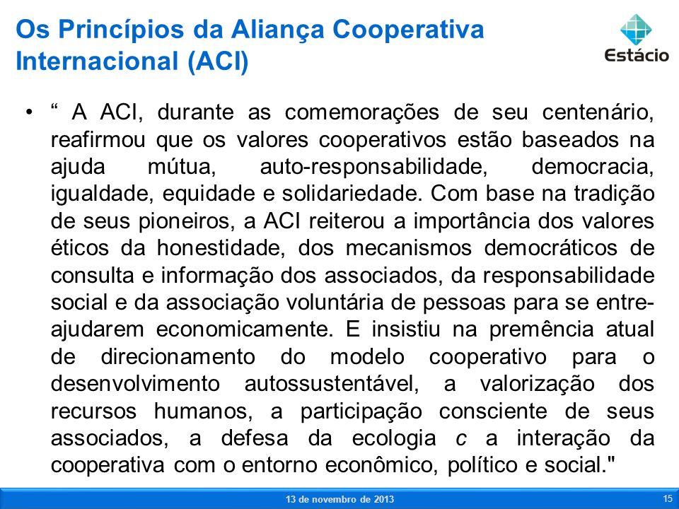 A ACI, durante as comemorações de seu centenário, reafirmou que os valores cooperativos estão baseados na ajuda mútua, auto-responsabilidade, democrac