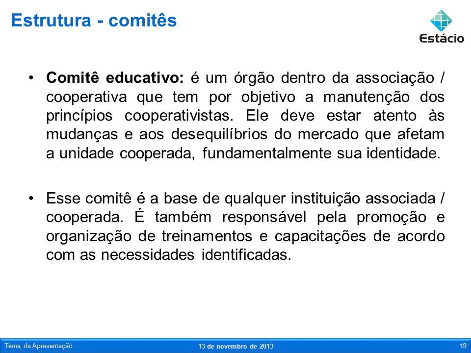 Comitê educativo: é um órgão dentro da associação / cooperativa que tem por objetivo a manutenção dos princípios cooperativistas. Ele deve estar atent