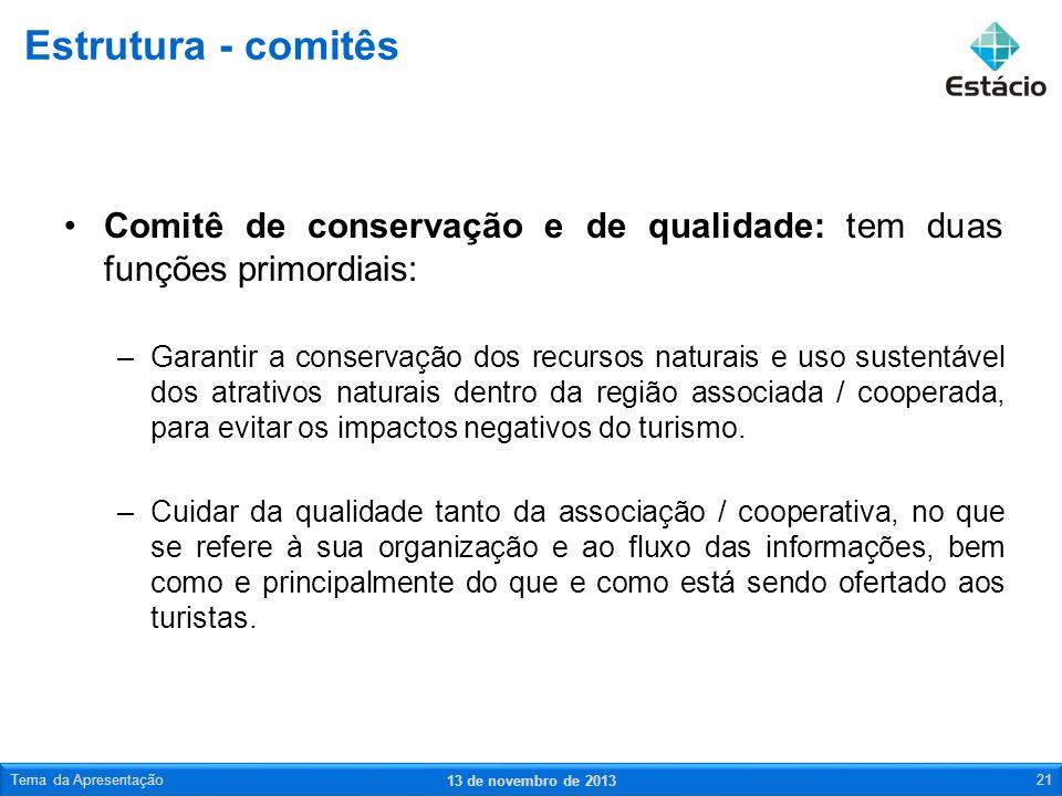 Comitê de conservação e de qualidade: tem duas funções primordiais: –Garantir a conservação dos recursos naturais e uso sustentável dos atrativos natu