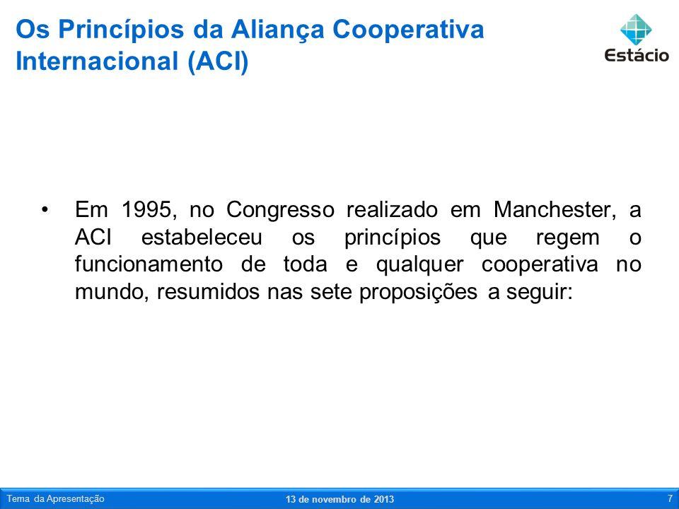 Em 1995, no Congresso realizado em Manchester, a ACI estabeleceu os princípios que regem o funcionamento de toda e qualquer cooperativa no mundo, resu