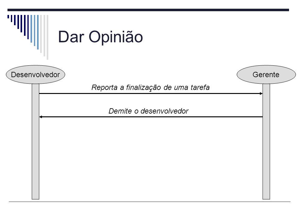 Dar Opinião DesenvolvedorGerente Reporta a finalização de uma tarefa Demite o desenvolvedor