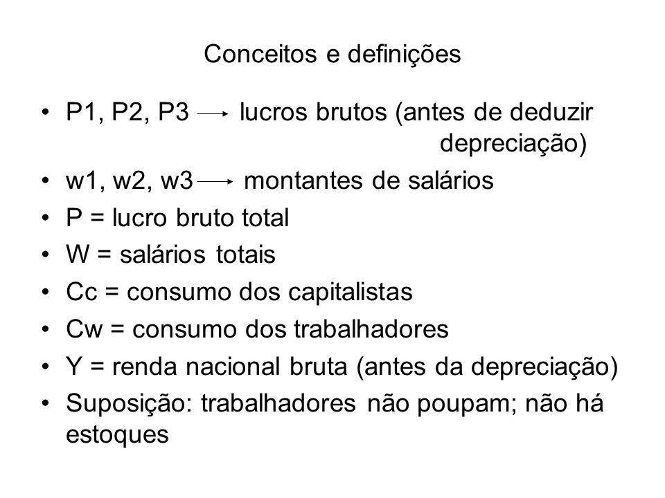 Conceitos e definições P1, P2, P3 lucros brutos (antes de deduzir depreciação) w1, w2, w3 montantes de salários P = lucro bruto total W = salários tot