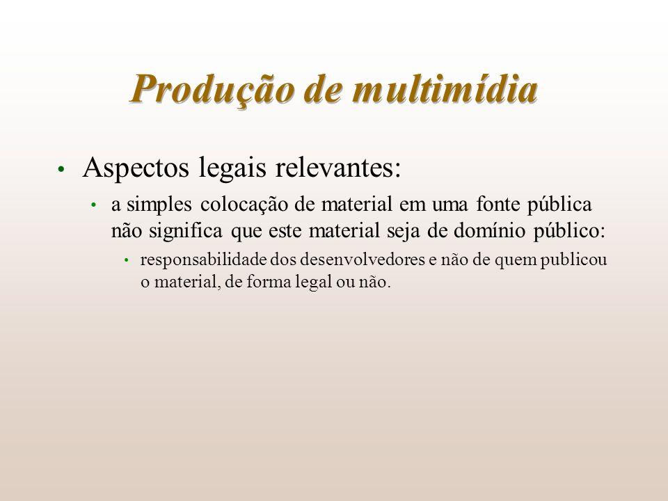 Produção de multimídia Aspectos legais relevantes: a simples colocação de material em uma fonte pública não significa que este material seja de domíni