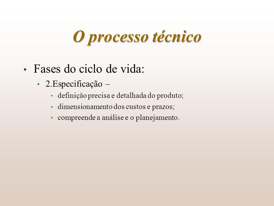O processo técnico Fases do ciclo de vida: 2.Especificação – definição precisa e detalhada do produto; dimensionamento dos custos e prazos; compreende